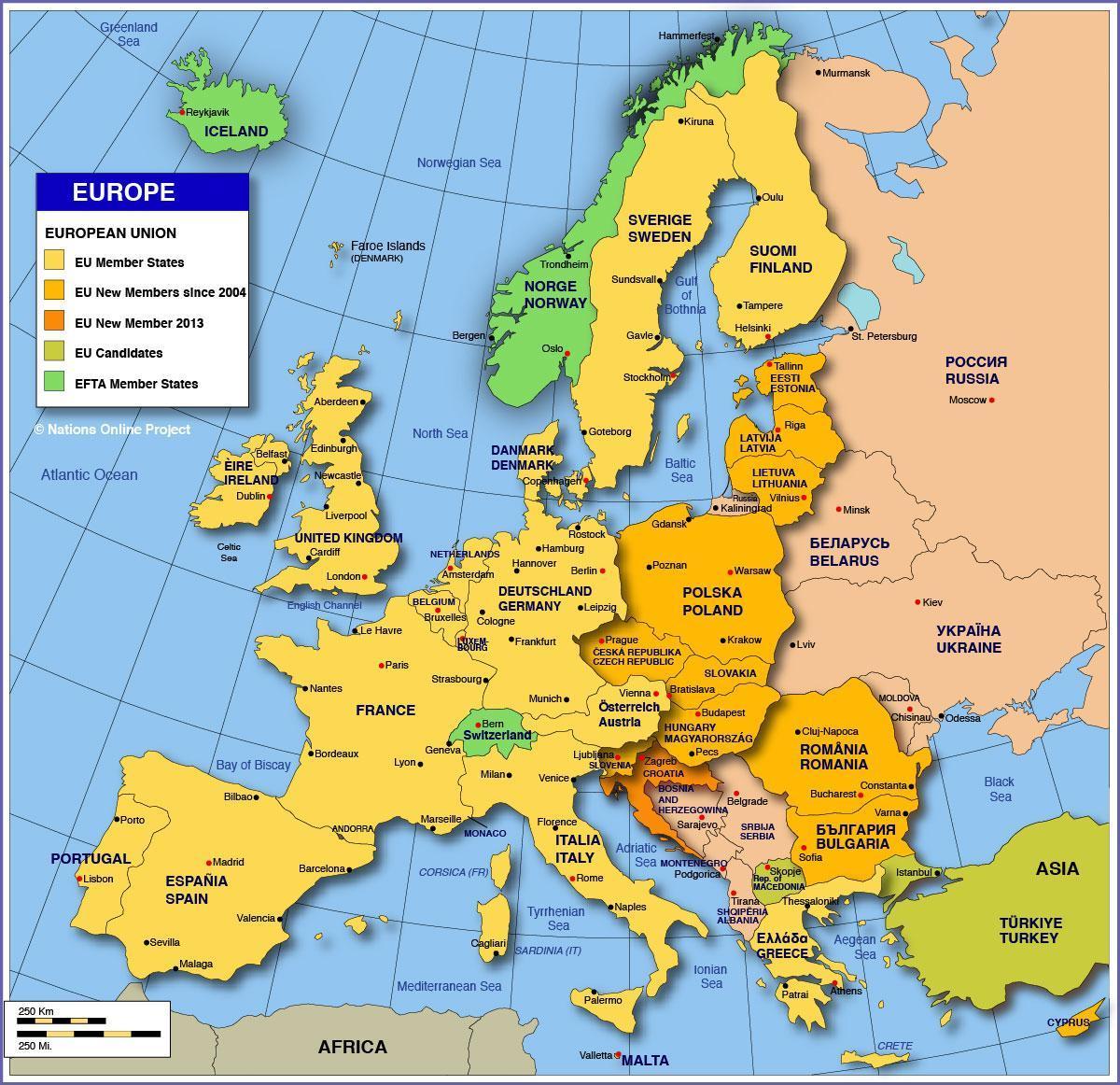 Politisk Kort Over Europa Storformat 164 X 119cm Kontinent